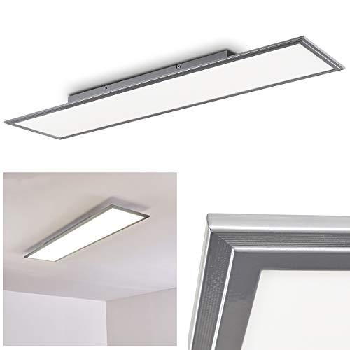 LED Deckenpanel Voisines, längliche Deckenleuchte in Nickel-matt, 32 Watt, 5200 Lumen, Lichtfarbe 4000 Kelvin, moderne Deckenlampe aus Metall