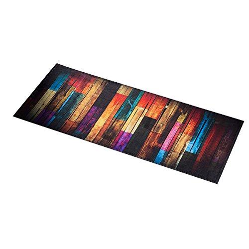 Ounona Küchenläufer, rutschfeste Fußmatte fürs Badezimmer, Badvorleger, Duschvorleger, Motiv: bunter Wald, 40 x 100 cm