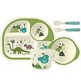 HOMEWINS Kindergeschirr Set aus Bambus 5 teilig - Teller, Schüssel, Löffel, Gabel, Tasse, BPA Frei Lernbesteck Geschirr Sets für Kinder ab 6 Monaten (Dinosaurier)