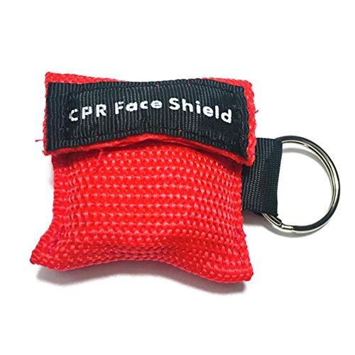 CALISTODE Beatmungsmaske Schlüsselanhänger CPR Maske Beatmungshilfe Taschenmaske Erste Hilfe (rot)