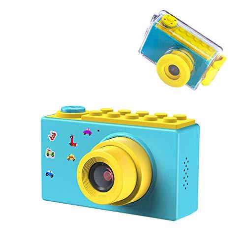 ShinePick Kamera Kinder, Digitalkamera Kinder, Wasserdicht / 8MP / HD 1080P / 2 Inch Bildschirm / Foto & Video / Rahmen / Filter, Kinder Fotoapparat mit Speicherkarte, Geschenke für Kinder (Blau)