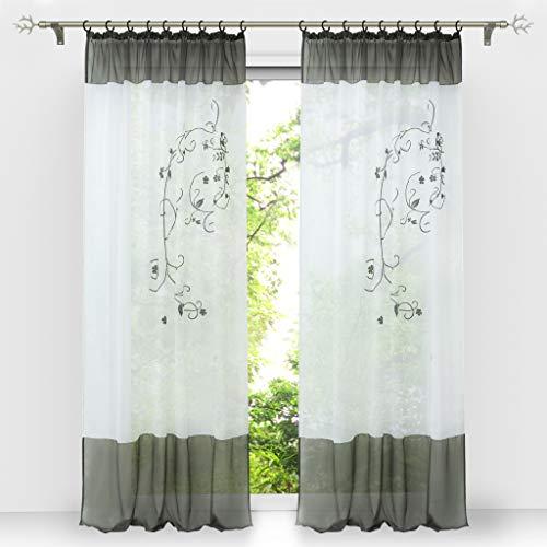 HongYa 1 Stück Bestickte Gardine Transparenter Voile Vorhang Fensterschal mit Kräuselband H/B 145/140 cm Grau