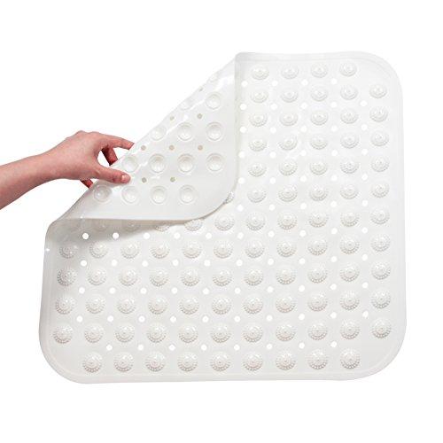 FHzytg Duschmatten Dusche Rutschfest TPR Gummi Badewannenmatte mit Dem Massage Ball Antibakteriell Duschmatten für Badewanne & Dusche (Weiß, 48 x 48 cm)
