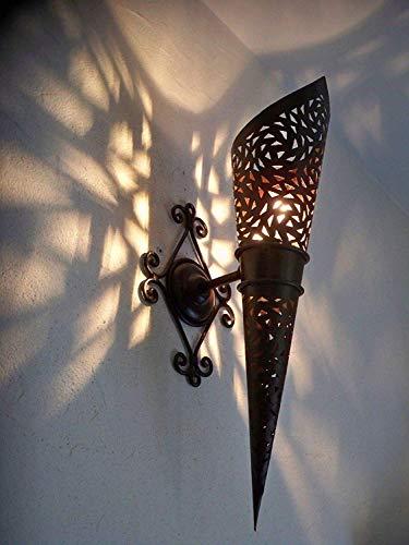 Wandleuchte Wandfackel Schmiedeeisen Marokkanisch Höhe 45 cm