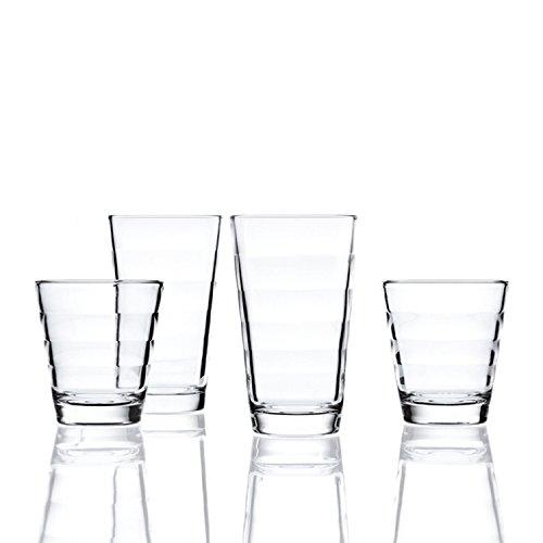 Leonardo Onda Set 12 Becher, 12-teilig, 6 große Becher je 300 ml und 6 kleine Becher je 210 ml, Klarglas, 011019