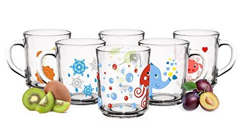 6 Tier-Motiv Becher Tassen 230ml Teegläser Kindergläser Trinkgläser Saftgläse