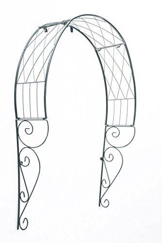 CLP Metall-Rosenbogen für die Tür I Rankbogen mit dunkelgrüner Beschichtung I Rankhilfe für Kletterpflanzen I Verzierter Torbogen im Landhausstil Grün
