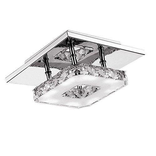 SAILUN 12W Kaltweiß Quadrat LED Kristall Deckenleuchte Badleuchte Licht Schlafzimmer Wohnzimmer Deckenlampe (12W Kaltweiß)
