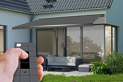 empasa Elektrische Vollkassettenmarkise 'Profi' Gelenkarmmarkise Markise Sonnenmarkise Sonnenschutz 4 x 3 m anthrazit