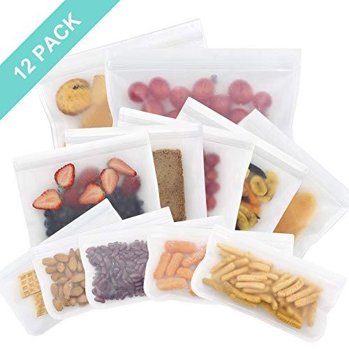 OFUN Wiederverwendbare Aufbewahrungstasche für Lebensmittel 12pcs, biologisch abbaubare Sandwich Snack Taschen aus PEVA Kochbeutel Gefrierbeutel BPA frei für Obst Gemüse Fleisch und Brot