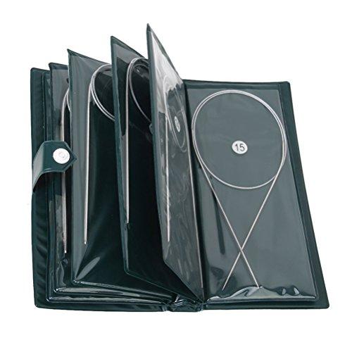 LEORX 11pcs professionelle 80cm Edelstahl runden häkeln Stricknadeln in verschiedenen Größen 1,5 mm bis 5,0 mm