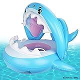 Weokeey Baby Schwimmring Baby Schwimmhilfe Baby Pool Schwimmring mit Sonnenschutz - Aufblasbarer Schwimmreifen für Kinder ab 9 Monaten bis 36 Monaten