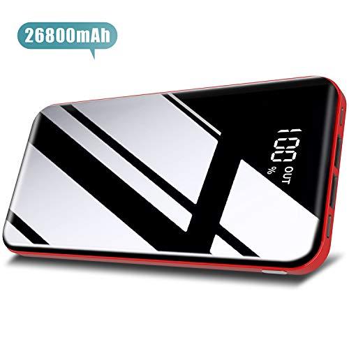Todamay Powerbank26800mAh Externes Ladegerät Mit LCD Digital Display Ultra Kompakter Batterie Pack 3 Eingängen 2 Ausgängen USB Externer Akku für Handy, Tablet und Mehr USB-Gerät