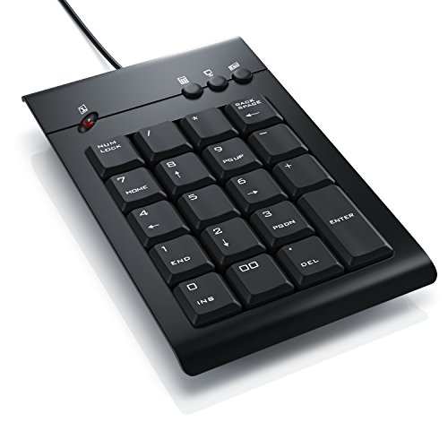 CSL - Numpad / Keypad inkl. Mulitmediatasten | USB-Nummerntastenfeld | Nummernblock / Zusatztastatur | 3 Multimedia Keys | 19 Tasten | für Laptop, Ultrabook, Netbook + Desktop PC | schnurgebunden