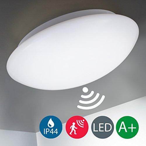 B.K. Licht LED Deckenleuchte, Deckenlampe, Radar-Bewegungssensor, Bewegungsmelder, Automatikleuchte, Mikrowellen-sensor, Sensorleuchte, Außenbeleuchtung, Balkon, Balkonlicht, Terrasse, Innenbeleuchtung, Kunststoff-Metall, IP44