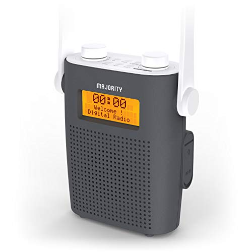 Majority Eversden Duschradio Wasserdichtes DAB/DAB + Wiederaufladbares tragbares UKW- IPX5, stoßfestes Material, Gummiband, Bluetooth, AUX-Eingang, Kopfhöreranschluss, Dual-Wecker, Dusch-Timer (Grau)