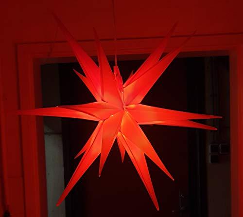 Led Weihnachtsstern Rot, Adventsstern, für Außen, Kunststoff 55cm Mit led lamp 3W Stern 3D Außenstern Fensterstern Deko