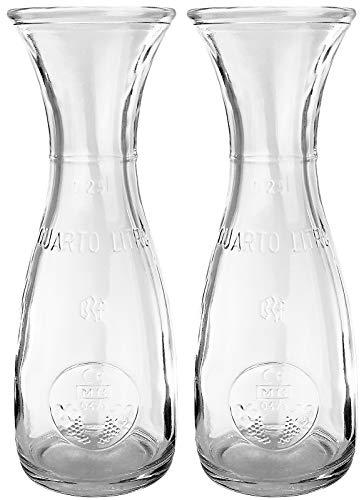 Bormioli Rocco - Weinkaraffe Dekanter Glas 2-teiliges Set - 250ml - mit Eichstrich - Saftkrug Wasserkaraffe Glaskaraffe Wein krug Wasser Saftkrug - hochwertige Qualität - 19 cm