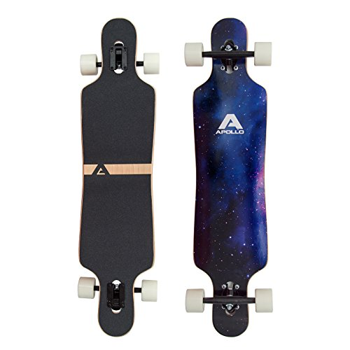 Apollo Longboard Nebula Special Edition Complete board with high-speed ABEC bearings incl. skate t-tool, drop through freeride skate cruiser boards