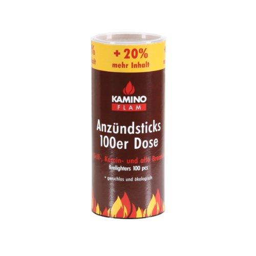 Kamino-Flam Anzündsticks - 100 Anzünder in handlichen Dose - Feuersticks brennen 5-6 Minuten - Anzündscheit für Grill / Kamin / Ofen - Anzündbrikettsticks geruchlos & ökologisch - Kaminanzünder