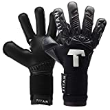 T1TAN Alien Black-Out Junior Kinder Torwarthandschuhe + Soft Grip, Tormannhandschuhe Junior mit Innennaht für den Profi der Zukunft Gr. 4