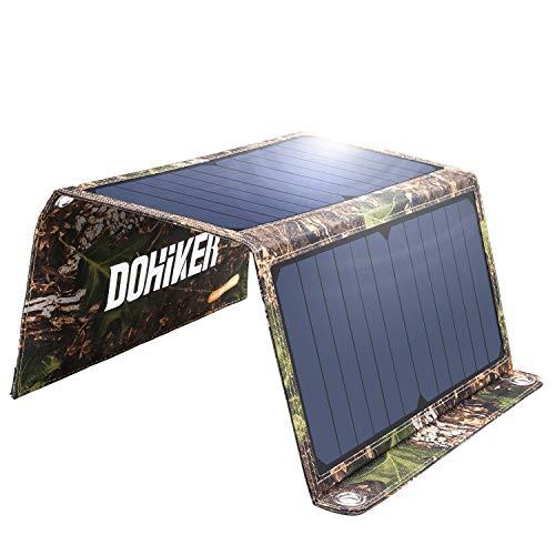 DOHIKER - Solar Ladegerät14W Solar Panel mit Dual USB Ports ( Tragbares Ladegerät für iPhone XS iPad Kindle Lautsprecher faltbares Ladegerät für Aktivitäten im Freien Camping Wandern Reise )