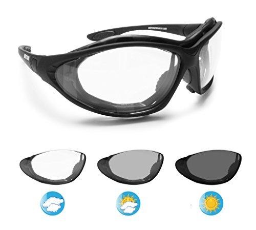 Photochrome Motorradbrille Schutzbrille Selbsttönende Antibeschlag UV schutz mit austauschbare Bügel oder Kopfband by Bertoni Italy - F333A Automatische Scheibentönung