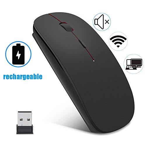 EasyULT Wireless Mäuse, 2.4GHz Kabellose Maus Schnurlos Optische Maus mit USB Empfänger und USB-Kabel für PC/Tablet/Laptop (Schwarz)