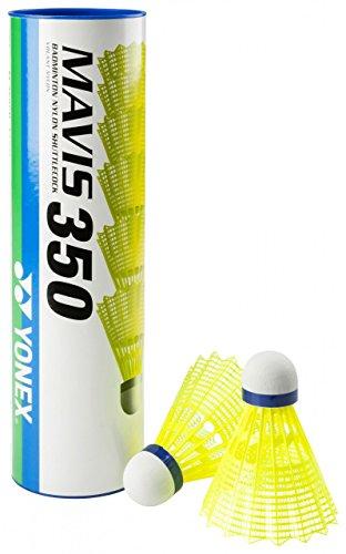 Yonex Mavis 350 Badmintonshuttle, doos van 6 stuks, geel, medium, normaal