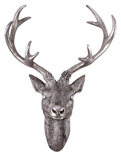 Hirschgeweih 10 Ender - Wand Deko in Silber Optik 61x50 cm - Hirschkopf Skulptur Jagd Geweih
