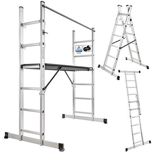Arebos Arbeitsgerüst / 3 in 1 - Gerüst, Bockleiter oder Anlegeleiter/Alu/Belastbarkeit bis 150 kg/GS, EN 131 geprüft