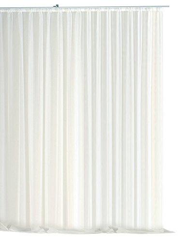 Voile Dekoschal Gardine Emotion weiß 500x245 cm Organza Vorhang Kräuselband klassisch transparent mit beschwertem Abschlußband Langstore #1309 (500x245)