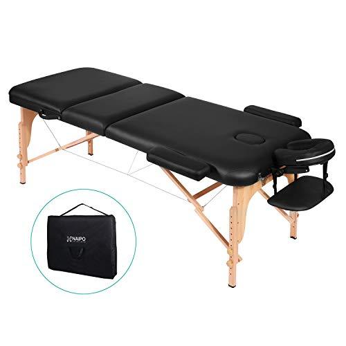 Naipo Massageliege Massagetisch Massagebett Massagestuhl mit 3 Zonen tragbaren höhenverstellbaren Holzfüßen Einfache Installation Ergonomische Kopfstütze mit Tragetasche (belastbar bis 250kg)