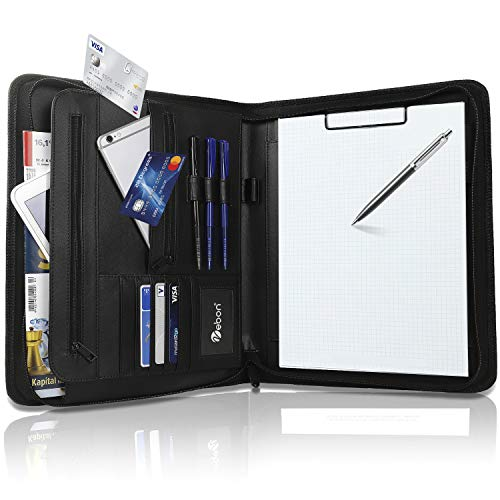 Vebon Schreibmappe A4 groß'New York' | Veganes Leder, Reißverschluss + Klemmbrett | Dokumentenmappe + Laptoptasche | extra Stauraum | Schwarz