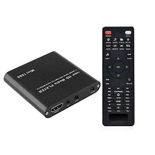 Mini 1080P Full HD Digital Mediaplayer Medienspieler mit Fernbedienung für MP3, WMA, OGG, AAC, FLAC, APE, AC3, DTS, ATRA - Unterstützt HDMI CVBS & YPbPr Videoausgang (Schwarz).