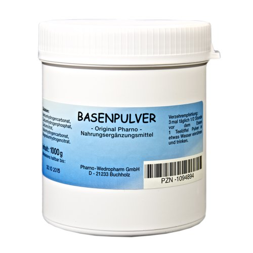 Basenpulver -Original Pharno- 1000 g Ohne Zusatzstoffe, Lactosefrei und frei von Zuckern oder Aromastoffen 1 x 1.000 g Pulver | 1 Dose