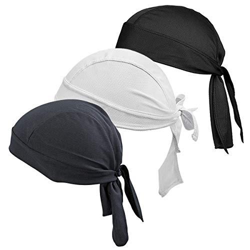 HASAGEI Sports Bandana Cap Schwarz Rot Weiß Herrem Damen Biker Bandanas Kopftuch Hat (3pack)