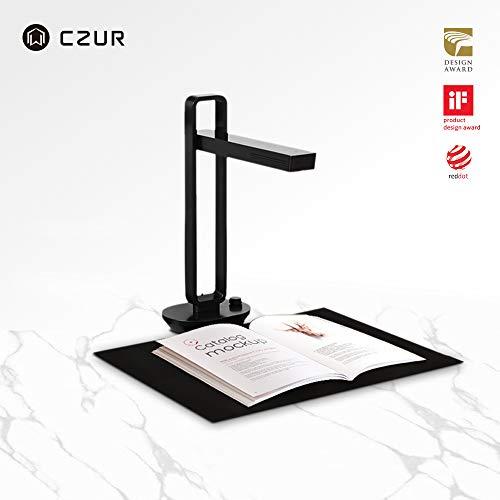 CZUR Aura Tragbarer Buch Dokumentenscanner mit OCR für Win und Mac, HD Dokumentenkamera für A3 A4, 4 Farb 7 Helligkeitsstufen Led Schreibtischlampe