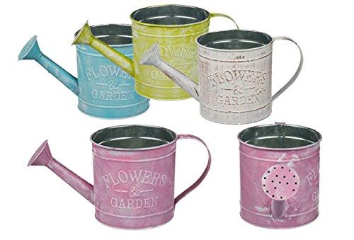 Blumentopf Metall zum Stellen / Hängen Vintage Pastellfarben 4 Stück sortiert Modell-Auswahl, Größe:Durchmesser 13.5 cm