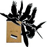 Qualiveau 40cm Große Vogelschutz Aufkleber | Mit Gratis Rakel Komplettset zum Schutz vor Vogelschlag | Farbauswahl
