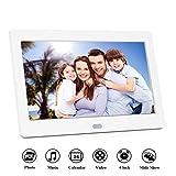 Digitaler Bilderrahmen Hochauflösend Full IPS Bildschirm Video Musik Player mit Kalender/Wecker, Elektronischer Fotorahmen mit Fernbedienung, (7inch, White)