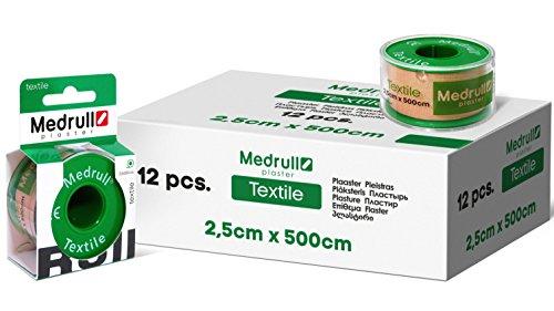 Medrull Pflaster Rolle 12 Stück Fixierpflaster 5m x 2,5cm Einzeln Verpackt