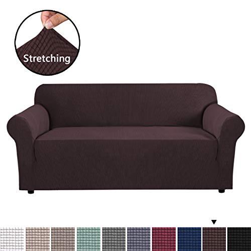 BellaHills Couchbezug für Leder Couch Stretch Sofabezüge 3-Sitzer Stoff Braun Schonbezug Protector Couch Schonbezug für 3 Kissen Couch