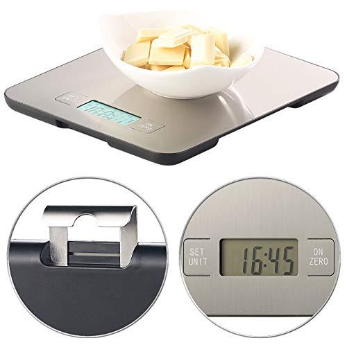 Rosenstein & Söhne Feinwaage: Digitale Edelstahl-Küchenwaage mit Timer, bis 15 kg, auf 1 g genau (Grammwaage)