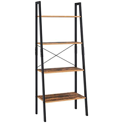 Homfa Standregal Leiterregal mit 4 Etagen Bücherregal Pflanzenregal Blumrenregal Balkonregal Badregal aus Metall und Holz Vintage Industrial schwarz 138.5x56x34.5cm