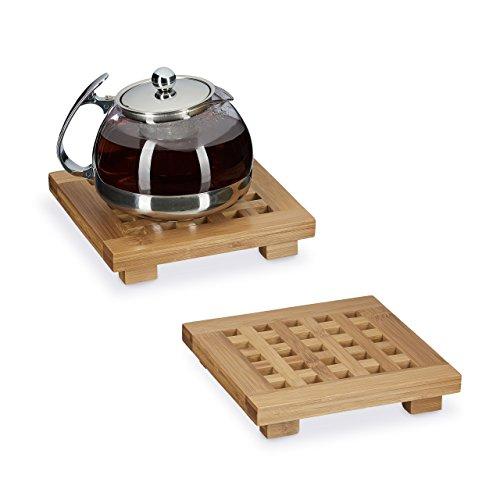 Relaxdays Untersetzer 2er Set quadratisch Bambus, Topfuntersetzer aus Holz für Töpfe, Pfannen, Teller, abwischbar, HBT ca. 4 x 20 x 20 cm, natur