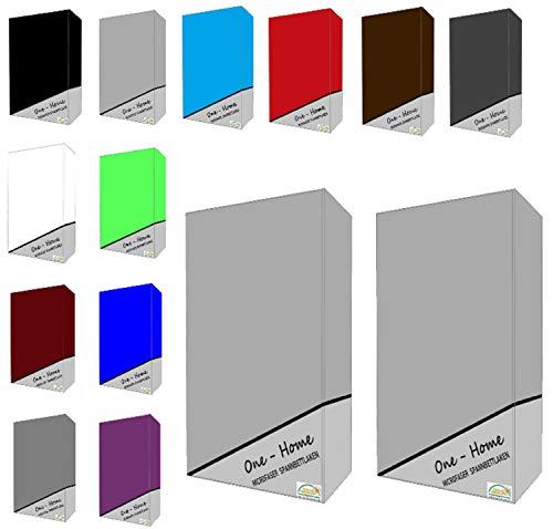 one-home 2er Pack Microfaser Spannbettlaken Spannbetttuch Betttuch mit Rundumgummi Set, Farbe:Silber, Maße:90x200 cm - 100x200 cm