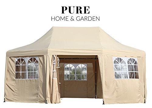 Luxus Pavillon 'Celebration', UV-Schutz 50 PLUS, inkl. aller Seitenteile, 550 x 400 cm, Dachhöhe verstellbar, Pure Home & Garden