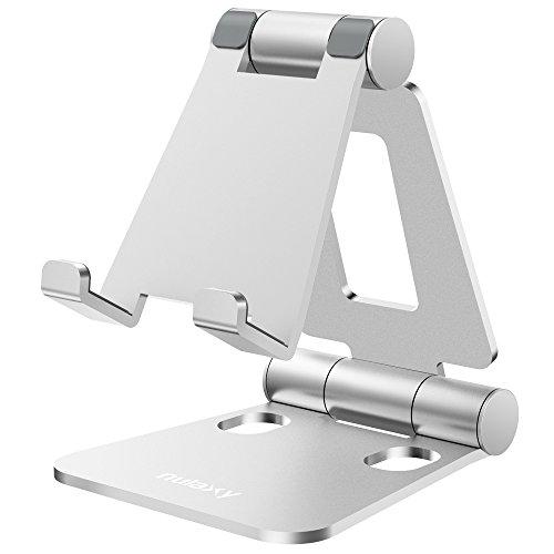 NULAXY Verstellbare Handy Ständer, Tablet Ständer : Tisch Handy Halterung für Phone Xs Max, Xs, XR, X, 8, 7, 6 Plus, Pad Air 2 3 4, Mini 2 3 4 und 4-8 Zoll Device (Silber)
