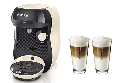 Bosch TASSIMO Happy + 20 EUR Gutscheine* + WMF Latte Macchiato Gläser Set Kaffeemaschine Kapselmaschine